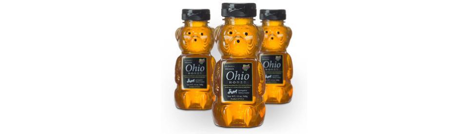Custom digital labels printed for honey bottles.